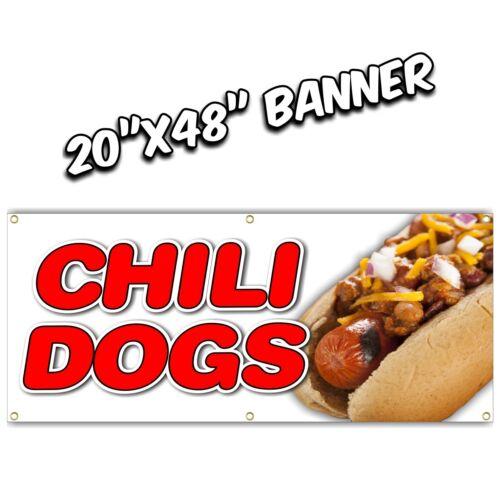 CHILI DOGS BANNER  deep fried fries fish fry hot dog burger nachos bbq  20X48