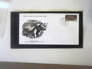 WORLD-WILD-LIFE-FUND-FIRST-DAY-COVER-BLACK-RHINOCEROS-SOUTH-AFRICA