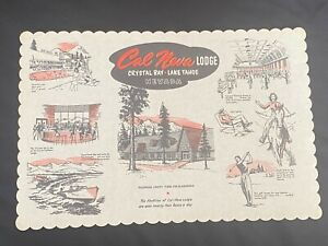 Vintage Restaurant Paper Place Mat Cal Neva Crystal Bay Lake Tahoe Nevada NV