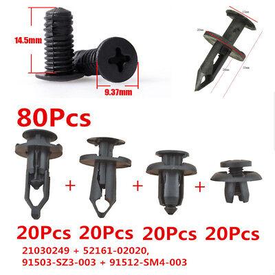 80PCS Car Body Bumper Plastic Push Pin Rivet Fasteners Trim Moulding Clips Kits