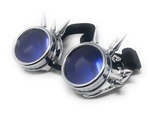 Steampunk-Goggles-Silver-with-Blue-Lenses-Cyber-Vintage-Retro-Welding-Glasses