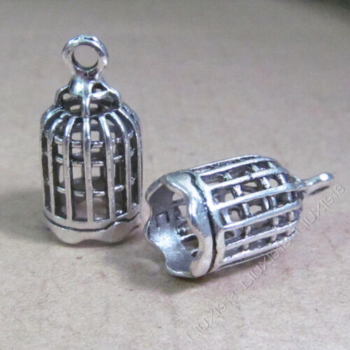 10pc Retro Tibetan Silver Birdcage Charms Pendant Beads Jewellery Making B550Y