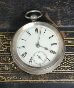 Antique-Victorian-sterling-silver-cased-pocket-watch