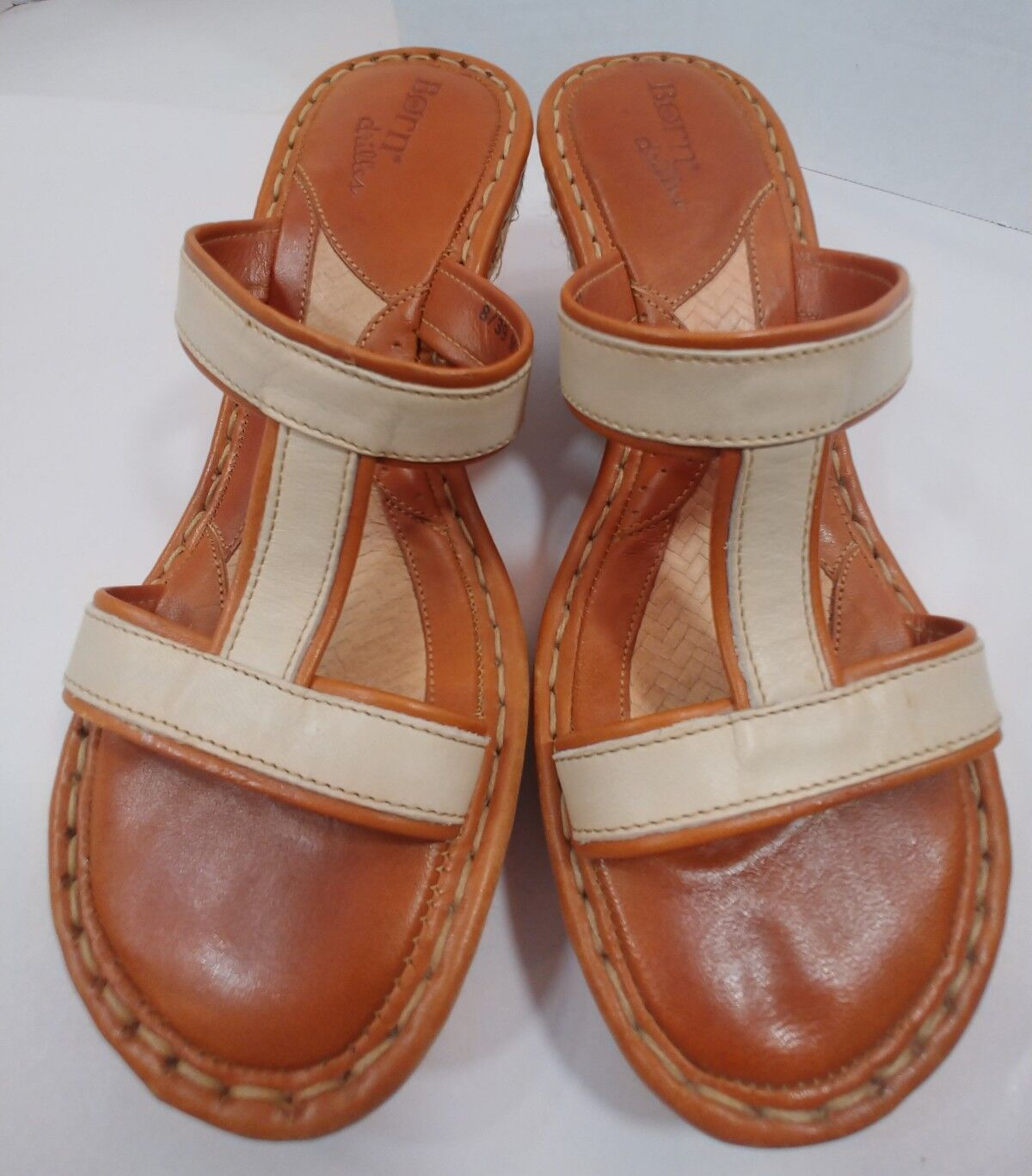 BORN 'drilles Rust Brown B'scotch Ivory Leather Wedge Sandal shoes Womens 8M 39