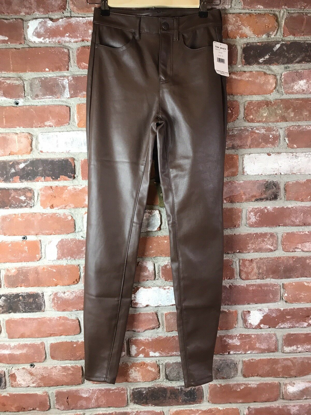 NWT Free People Faux Leather Skinny Pants Size 26
