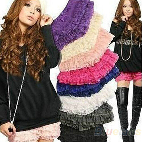 Fashion 6 Colour Women Girl Nice Safety 8 Layers Lace Shorts Leggings Pants BF3U