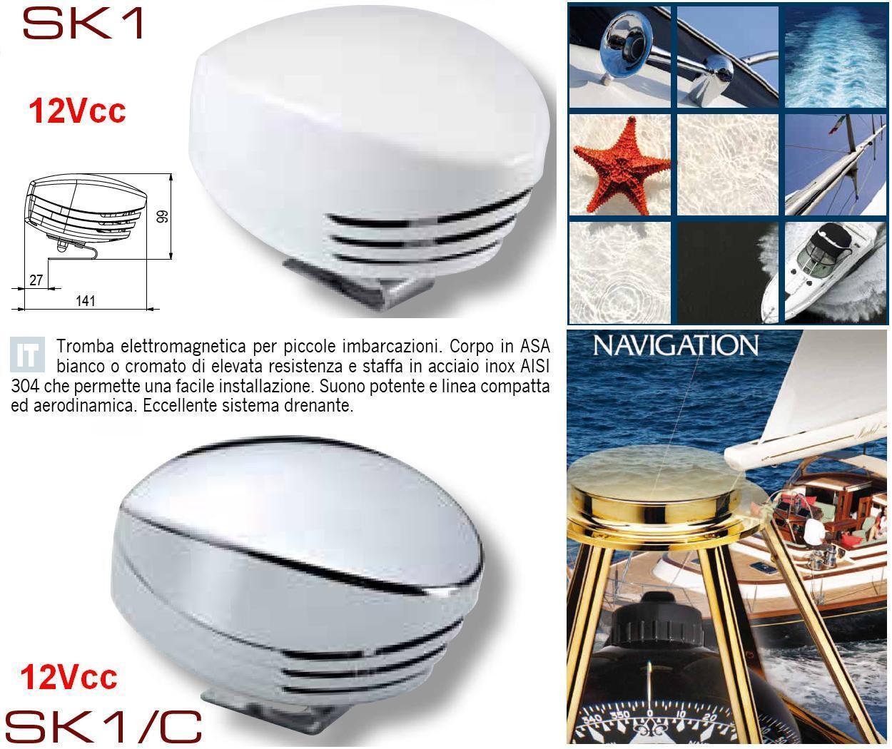 HORN MARINA CORPO in ASA CHROME ELECTROMAGNETIC 12V 108dB BOAT CAMPER SK1 C