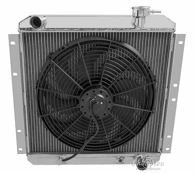 1958-1980 Toyota Land Cruiser 3 Row Champion Alum Radiator Fan Combo