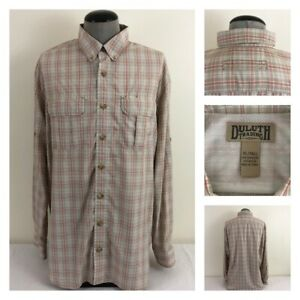 Duluth-Trading-Mens-XLT-Armachillo-Tan-Plaid-Mesh-Vented-Tall-Cooling-Shirt