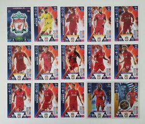 Match-Attax-UEFA-Champions-Soccer-Cards-Liverpool-Team-Set-shiny-Mane-Keita