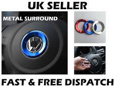 VW BLUE Steering Wheel Metal Badge Surround Ring Jetta Golf Transporter T5