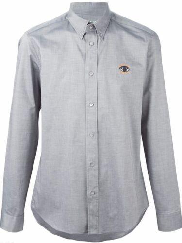43 botones con Bnwt plateado los Algodón Camisa para Sz 100 ojos de Xxl 17 Gris hombre Kenzo aqEwO5Pn