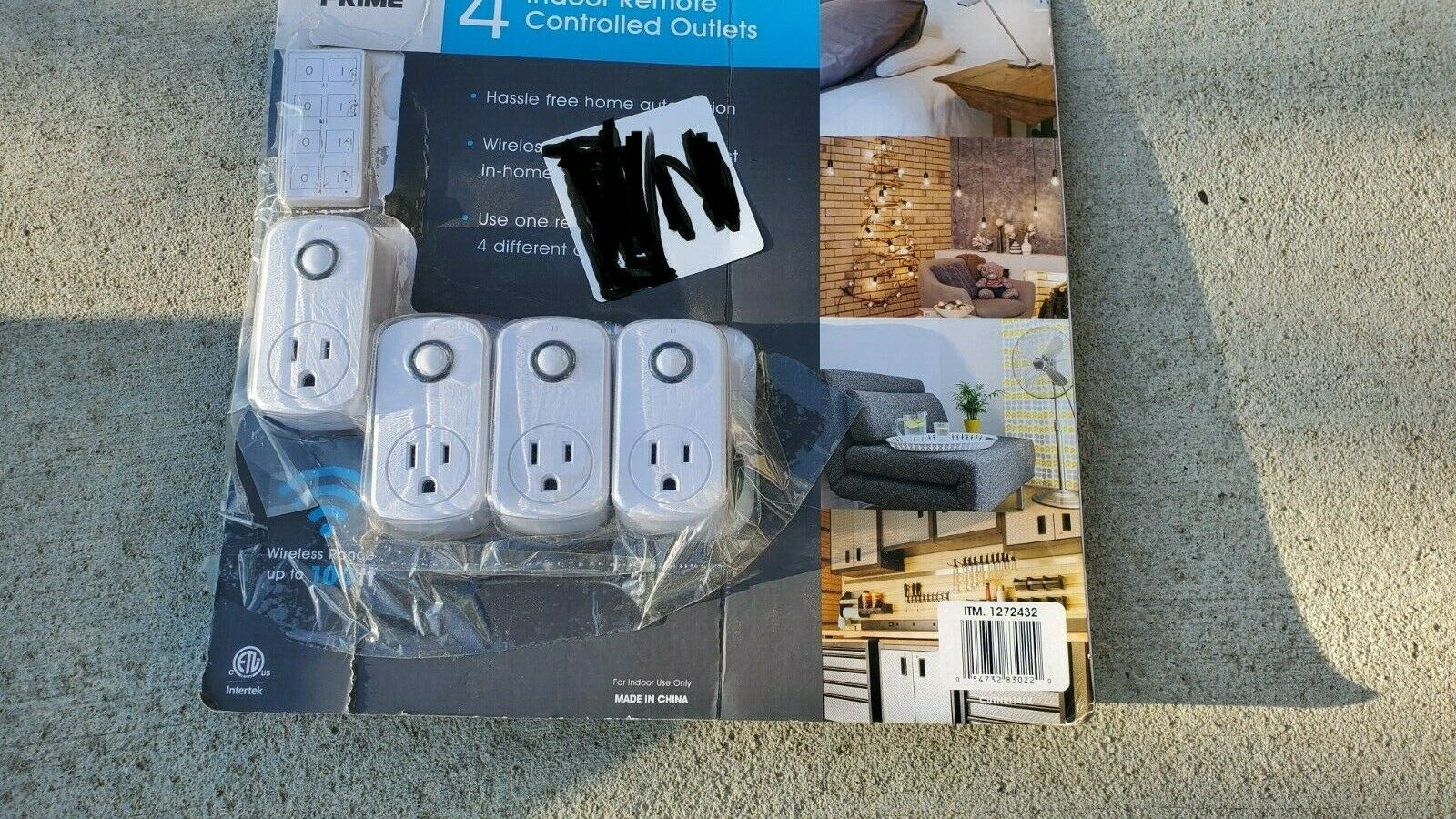 Prime  4pc Indoor Remote Controlled Wall Outlets W//One Remote Control