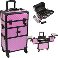 Professional Rolling Makeup Train Case 2 In 1 Aluminum Beauty Trolley Organizer