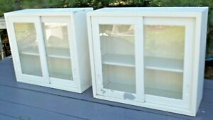 2-Vintage-Wall-Mount-sliding-door-Cabinet-Metal-Industrial-Kitchen-Shelf-Medical
