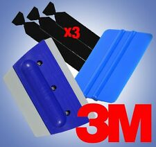 3M Blue Squeegee Rubber Applicator Tools Felt Edge Decal Tips x3 Vinyl Wrap Kit