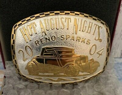Hot Sale Crumrine Hot August Nights Sterling Silver & Gold Plated Buckle 2004 Made In Usa Products Hot Sale Belt Buckles