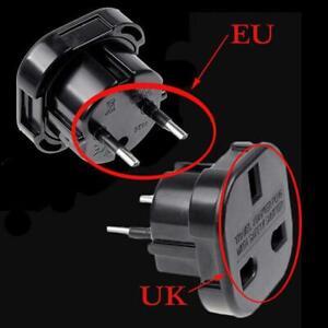 Travel-UK-to-EU-Eurostecker-AC-Ladegeraet-Adapter-Konverter-Buchse-Schwarz