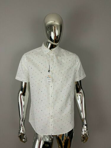 NEW EXPRESS WHITE BUTTON DOWN GRAPHIC T Shirt Size XL