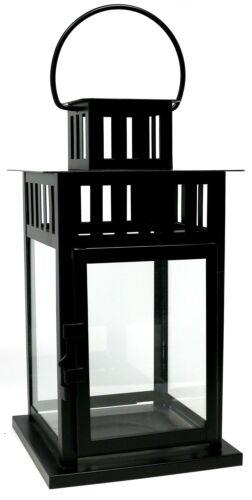 schwarz eckig schwarze Leuchte black Laterne Metall 28 x 15,5 x 15,5 cm