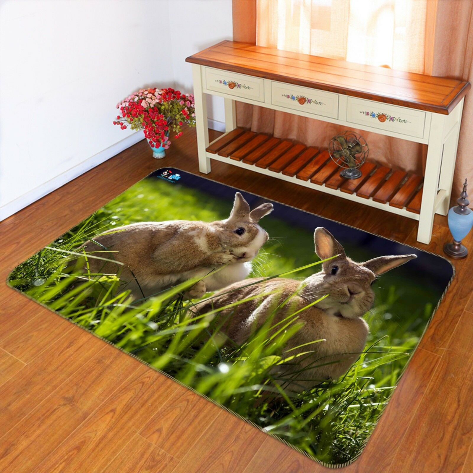 3d Two Rabbits Grass 6 Non Room Slip Rug Mat Room Non Mat Quality