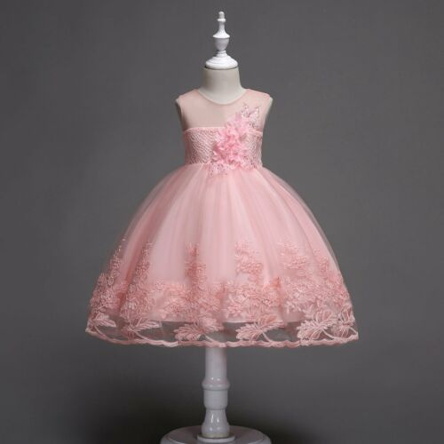 Flower Girl Bridesmaid Princess Lace Wedding Dress Gown Tulle Tutu for Baby Kids