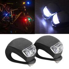 2 Piezas de silicona LED cabeza Bicicleta Bicicleta Ciclismo lámpara luz de Seguridad Rueda Frontal Trasera