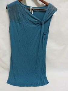 Kische-Tunic-Top-Sleeveless-Studded-Details-Style-14914-Turquoise-Size-M-6446