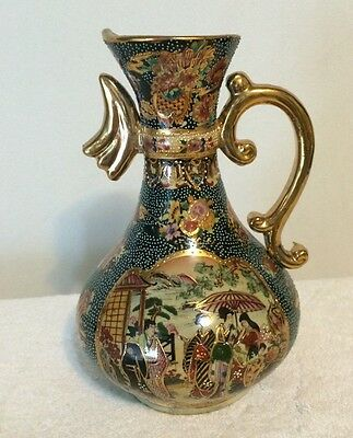 "Vintage Royal Satsuma Pitcher Vase 10"" Tall"