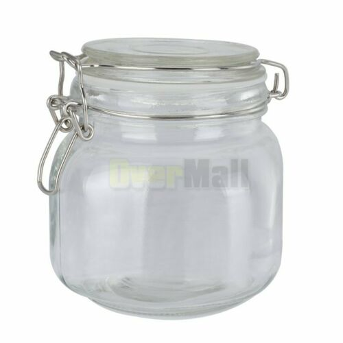 5xGlass Jars With Hinge Lids Airtight Wide Mouth Mason Canisters Preserving Jars