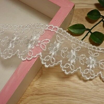 """mesh net embroidered lace trim 14 yards 1.6"""" width(40mm)-EL04"""
