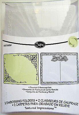 Flourish and Postcard Sizzix Textured Embossing Folder Set 657666 NEW!