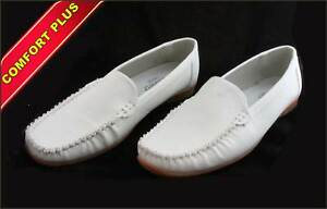 GOLDSTEP-Ladies-Leather-Slip-On-Shoes-SMALL-SIZE-40-White-VGC