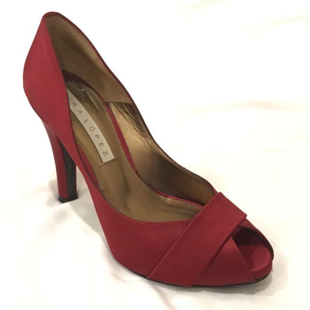 01642d041 Pura Lopez Deep Red Silk Peep toe Pumps 36 6 4