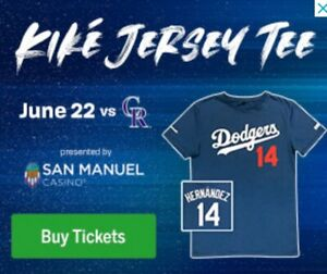 new product 4ec23 244e5 Details about Los Angeles Dodgers Kike Hernandez Jersey T-Shirt 6/22 SGA  Size XL