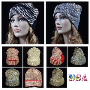db29da2de5e Women s Beanie Plain Rhinestone Studded Cap Ski Winter Oversize Hat ...