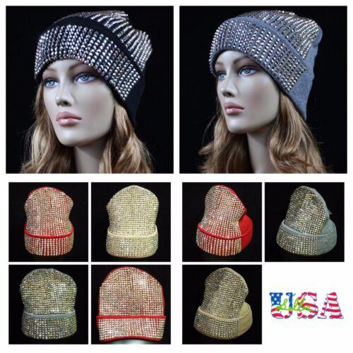 Women/'s Beanie Plain Rhinestone Studded Cap Ski Winter Oversize Hat Bling bling