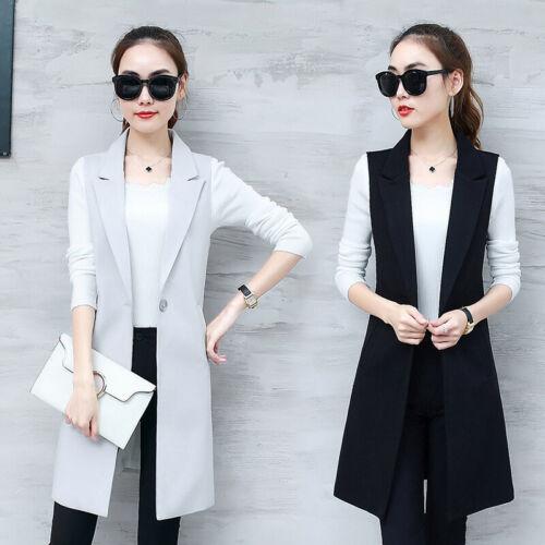 Womens Business Vest Casual Waistcoat Formal Sleeveless Jacket Long Coat Slim
