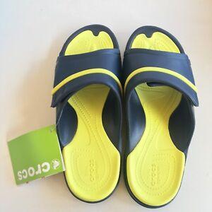 272f58e95169 NEW CROCS Unisex Modi Sport Slides Sandals Navy Tennis Ball Green m5 ...