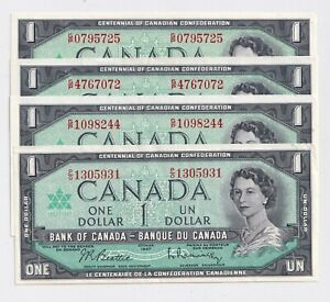 4-X-1967-1-Bank-of-Canada-Notes-With-S-N-AU