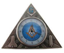 Gift for Freemason Mini Triangle Desk Clock Masonic Gift - Symbols front & back