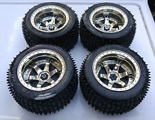 4x DIY 1/10 RC Rubber Tires Tyre Wheel Rim Monster Bigfoot Truck For Toys Parts