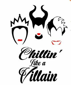 DISNEY-Halloween-Chillin-Like-A-Villain-FABRIC-T-SHIRT-IRON-ON-TRANSFER