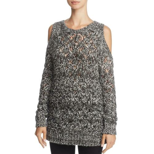 BB Dakota Bernette Women/'s Cable Knit Open Stitch Cold Shoulder Marled Sweater