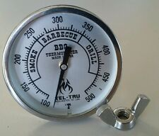 """Tel-Tru BQ225 BBQ Smoker Thermometer 2"""" Dial w/ 2.5"""" Stem Grill 500 zones"""