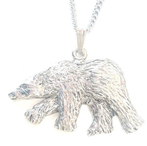 Free GiftBox PN82 Polar Bear Pendant Handcrafted in Solid Pewter In The UK