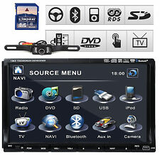 "SONY Lens GPS 7"" HD Double 2 Din Car Stereo Radio DVD Player 3D Bluetooth+Camera"