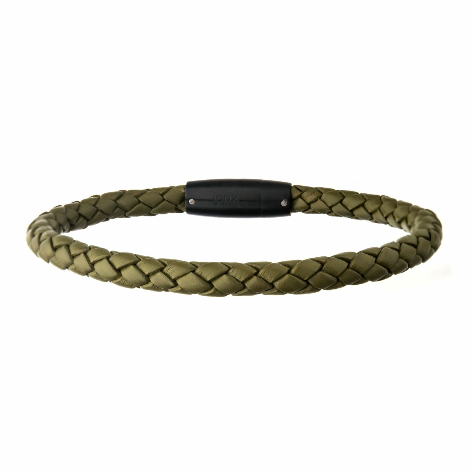 Men's Green Leather with Push in Plug Clasp Bracelet