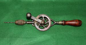 GOOD USER Antique Vintage MILLER FALLS No 85 Eggbeater Hand Drill Brace Inv#ES62