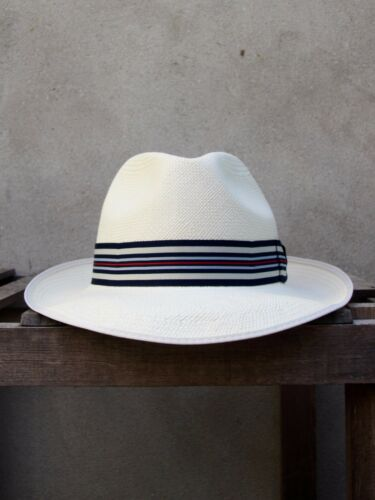 Superfine Regimental Panama Hat by Christys/' of London Blue Grey Striped Band